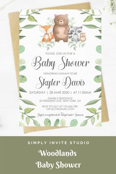 This Woodlands Animal Baby Shower Invitation is perfect for either a little boy or girls' baby shower. This easy to edit baby shower template can be combined with matching books for baby card, diaper raffle card and thank you card. It will be a great addition to your Woodlands Theme baby shower. Baby Shower Templates, Baby Shower Invitation Templates, Baby Shower Invitations For Boys, Baby Shower Printables, Baby Shower Themes, Boy Birthday Invitations, Diy Invitations, Invite, Sunshine Baby Showers