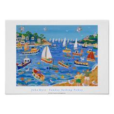 Art Poster: Sunday Sailing Fowey by John Dyer