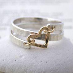 contemporary silver and gold spiral heart ring - Soremi Jewellery Ltd #silverjewelry #GoldJewelleryUnique #silverjewellery