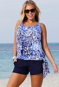 eaad57c1f9 Beach Belle Maroubra Plus Size Blouson Navy Cargo Shortini Tankini With  Shorts, Bathing Suit Shorts