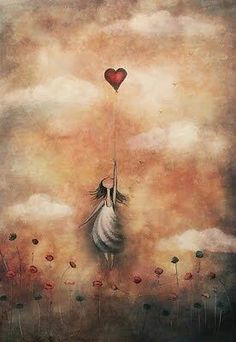 love-from-up-above (by amanda cass) [red heart balloon] Illustration Art, Illustrations, Angel Art, Heart Art, Whimsical Art, Pretty Pictures, Fantasy Art, Art Drawings, Art Photography