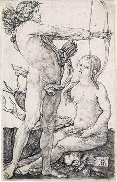 ALBRECHT DÜRER Apollo and Diana. Engraving, circa 1504.