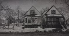 "Jennifer Cronin, ""What was Once a Home (South Carpenter Street)"", 13"" x 24"", Carbon pencil on toned paper, 2015"