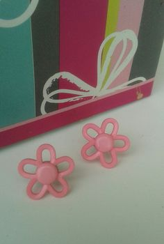 036: LITTLE GIRLS EARRINGS little girls earrings, summer pink great for Easter, for pierced ear. by RettasBoutique on Etsy