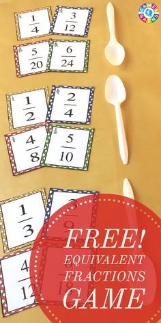 """This exciting equivalent fractions game is a twist on the classic """"Spoons"""" game. Learn how to play and get your FREE equivalent fractions cards to use in your classroom!"""