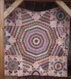 Primitive Folk Art Lone Star Quilt Farm AAFA 94x90 Hand Sewn Patchwork   eBay