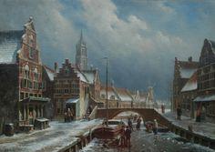Oene Romkes de Jongh (Makkum 1812-1896 Amsterdam) Winters stadsgezicht met schaatsers - Kunsthandel Simonis en Buunk, Ede (Nederland).