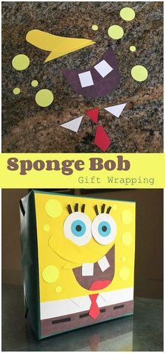 DIY Spongebob Squarepants Gift Wrapping Idea