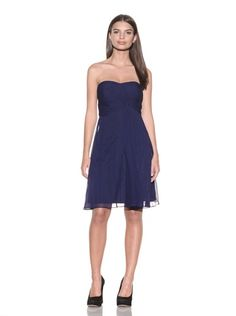 80% OFF Donna Morgan Women\'s Strapless Crinkle Chiffon Dress (Midnight Navy)