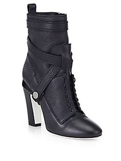 Fendi - Diana Leather Ankle Boots