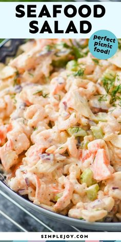This Seafood Salad recipe only takes about 10 minutes to throw together and is so much better than what you buy at the grocery store. Sea Food Salad Recipes, Seafood Recipes, Dinner Recipes, Cooking Recipes, Seafood Meals, Dessert Recipes, Homemade Desserts, Frosting Recipes, Easy Desserts