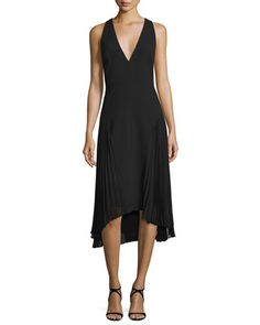 Sleeveless+V-Neck+Dress+W/+Pleated+Sides+by+Halston+Heritage+at+Neiman+Marcus.