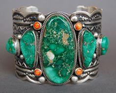 Navajo Hand Stamped Cuff Bracelet Darrell Cadman, Navajo Nation