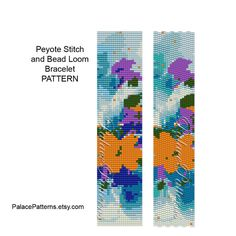 This bracelet pattern is for 2 drop even count peyote stitch or bead loom weaving, using a Delica 11/0 seed bead palette. There are 10 colors.  Large bead chart, bead legend, image of worked up piece and word chart included.  Measures 1.17 x 6.54.  Patterns not to be reproduced or distributed in any way. They are for your personal use to make for yourself or to sell the FINISHED bracelet, not the pattern.