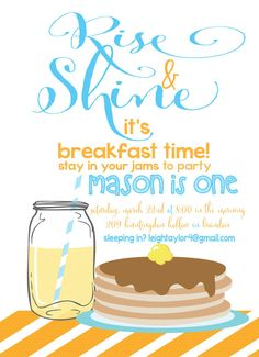Pancake Breakfast Party Invite, Rustic Printable Breakfast ...