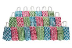 Assorted bright color Kraft paper gift bags, medium, Bulk set of 24 bags, 8' x 10' x 4' * Quickly view this special product, click the image : Wrapping Ideas