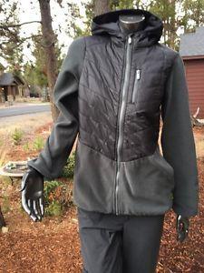 Lands End Kids Black Grey Quilted Hooded Primaloft Size 14-16 Fleece Jacket Mint  | eBay