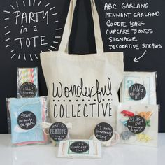 Party In A Tote Kit – Animal Theme by Wonderful Collective available at Scoutmob now. Party In A Box, Event Planning, Reusable Tote Bags, Parties, Blog, Decor, Rage, Fiestas, Decoration