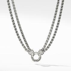 Double Wheat Chain Necklace With Diamonds Layered Chain Necklace, Timeless Beauty, David Yurman, Women's Necklaces, Bracelets, Pendants, Jewels, Diamonds, Sterling Silver