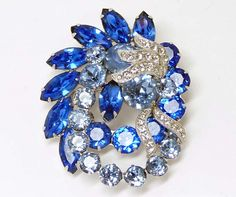 Vintage Eisenberg Blue Rhinestone Brooch Signed by thejewelseeker, $85.00