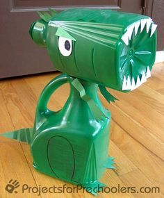 make a dinosaur from recycled juice bottles