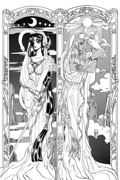 "Twin sisters Shashi & Kaara from ""RG Veda"" series by manga artist group CLAMP."