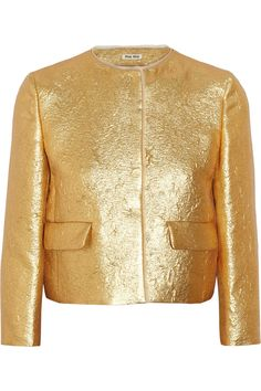 Miu Miu|Organza-trimmed lamé jacket|NET-A-PORTER.COM.  $2,185.
