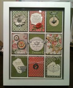 Featured Image I love the idea of making a framed picture using Stampin Up papers and stamps. The coral and green combination add to the vintage look of this work.