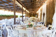 Reception Tables Neutral Colors Light Pink White Lace Lights Curtains Rustic Barn | Wilson-Vineyard-Clarksburg-California-Wedding-Photographer-TréCreative