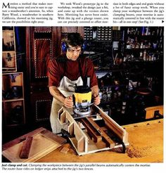 Self Centering Mortising Jig - Joinery Tips, Jigs and Techniques - Woodwork, Woodworking, Woodworking Tips, Woodworking Techniques Woodworking Techniques, Woodworking Jigs, Woodworking Projects, Mortise Jig, Wood Jig, Intarsia Patterns, Tools Hardware, Intarsia Woodworking, Self Centered