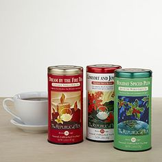 """Republic of Tea's Holiday Teas: """"Comfort and Joy"""", """"Dream by the Fire"""" and """"Plum Spice"""""""