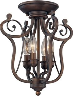 "Bronze Iron Semi Flush Mount Ceiling Light Fixture Graceful Harp Scroll Design Chandelier 4 Lights 13""Wx14""H $129"