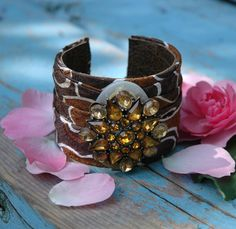 CUFF BRACELET vintage tie and repurposed jewelry - Tawny Fawn