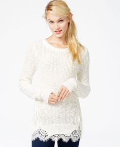 Maison Jules Zipper-Detail Lace-Contrast Sweater, Only at Macy's