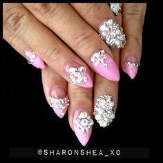 bling stiletto nails | nails #nailart #3dnailart #nailporn #nailswag #babypink #pink # ...