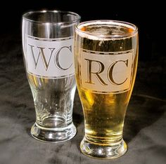 4 Beer Glasses, Monogrammed Pint Glasses, Etched Glass Personalized Gifts