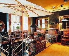 Blakes Hotel - vintage leather trunks and birdcage!