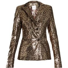 Halpern Sequin-embellished notch-lapel blazer ($3,380) ❤ liked on Polyvore featuring outerwear, jackets, blazers, suit, leopard jacket, gold sequin jacket, sequin blazer, brown jacket and tailored blazer