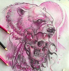 Эскиз тату с черепом и медведем