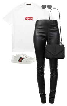"""""""Untitled #13364"""" by alexsrogers ❤ liked on Polyvore featuring Louis Vuitton, Alexander Wang, Gucci, Yves Saint Laurent and Smoke x Mirrors"""