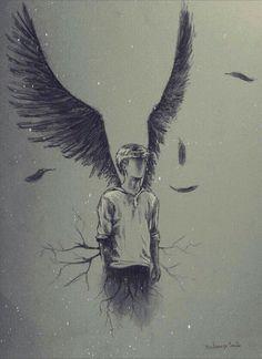 angel, drawing, and art image Pencil Art Drawings, Art Drawings Sketches, Cool Drawings, Newt Maze Runner, Maze Runner Series, Angel Drawing, Drawing Rain, Deep Drawing, White Art