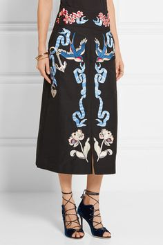 Temperley London | Embroidered cotton and silk-blend faille midi skirt…