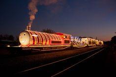 The Kansas City Southern Holiday Express train Holiday Express Train, Holiday Train, Christmas Train, Christmas Lights, By Train, Train Tracks, Southern Trains, Railroad Photography, Kansas City Missouri