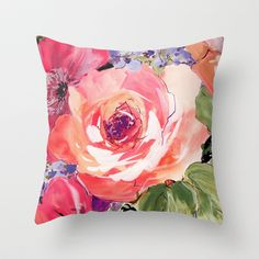 The Rose  Throw Pillow by Ariadne - $20.00