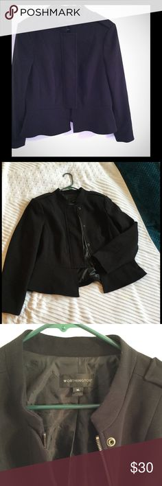 NWOT Worthington Black Jacket in XL Beautiful Black Jacket with Zipper and snap Button Closure.  Ruffled on bottom and military like accents on shoulders with a very nice lining in XL Worthington Jackets & Coats