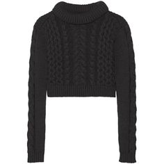 Tibi Cropped cable-knit sweater (5,765 MXN) ❤ liked on Polyvore featuring tops, sweaters, crop tops, jumpers, black, cable knit jumper, tibi top, chunky cable knit sweater, cable knit sweater and cut-out crop tops