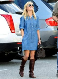 Cute Reese.  Chambray shirtdress with boots and boot socks.