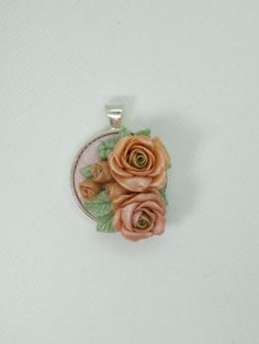 Rose round necklace polymer clay-blush peach pink color by NadoandLola on Etsy