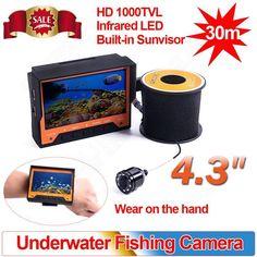 "Eyoyo WF03 30M Wearable Fish Finder Underwater Video Fishing Camera 4.3"" Monitor Infrared LED Night Vision Ice Fishing"