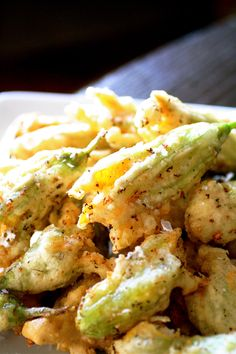 Cream Cheese and Ricotta Filled Fried Zucchini Blossoms-Reminds me of Italy